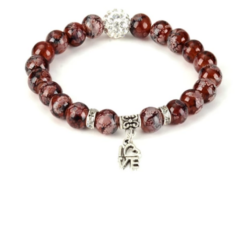 Love Gemstone Yoga Bracelet - with Swarovski Element Crystals - Gift Idea