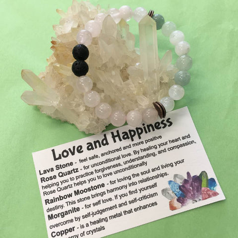 Love and Happiness Crystal, Gemstone and Lava Stone Bracelet - Aromatherapy Diffuser - Handcrafted