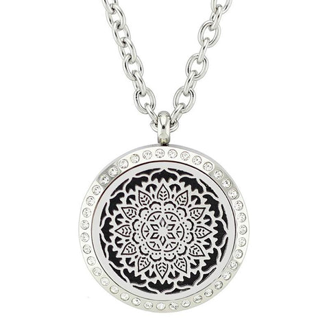 Lotus Flower Mandala Design Aromatherapy Essential Oil Diffuser Necklace - Silver with Crystals 25mm - Free Chain - Gift Idea