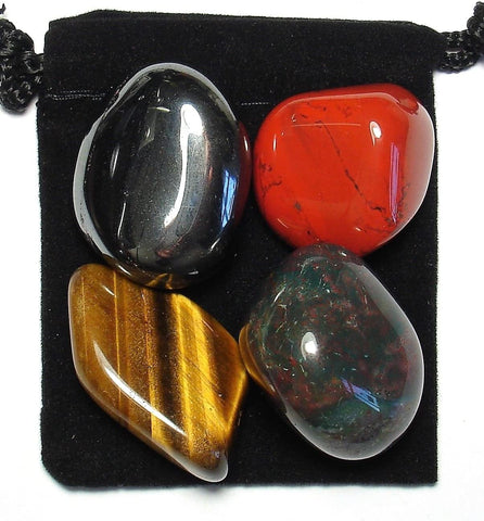 Manifest Protection Tumbled Stone Crystal Healing Set with Velvet Pouch - Bloodstone, Hematite, Red Jasper and Tiger Eye