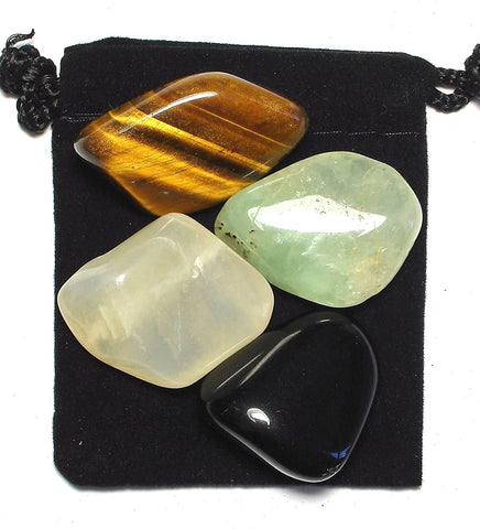 Manifestation (The Law of Attraction) Tumbled Stone Crystal Healing Set with Velvet Pouch - Black Obsidian, Moonstone, Prehnite and Tiger  Eye