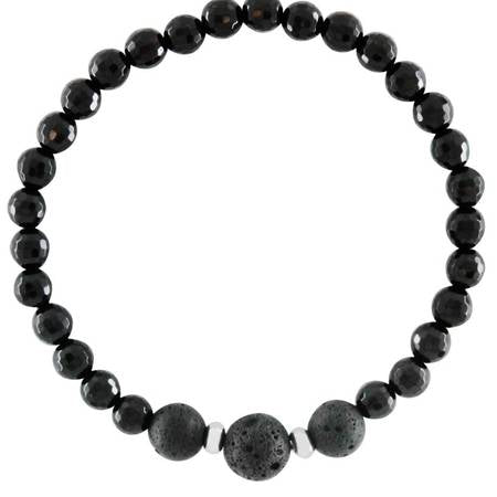 Mens Black Onyx and Lava Stone Aromatherapy Healing Diffuser Bracelet - Protection, Release and Calming - Valentine's Day Gift