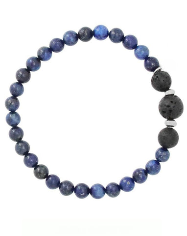Mens Lapis Lazuli and Lava Stone Aromatherapy Diffuser Bracelet - Communication, Intuition and Inner Power - Father's Day Gift Idea