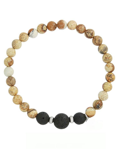 Mens Picture Jasper and Lava Stone Aromatherapy Diffuser Bracelet - Nurturing, Grounding and Harmonizing - Father's Day Gift Idea
