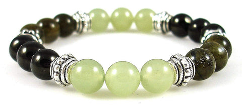 Crystal Gemstone Bracelet - Handcrafted - Natural Infinite Stone (Serpentine), Jet, and Labradorite 8mm