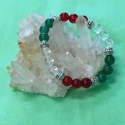 Business Success Crystal Gemstone Healing Bracelet - Green Aventurine, Red Carnelian and Clear Quartz - Aromatherapy Version Available