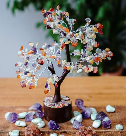 Mixed Crystal Gemstone Tree - Medium 22cm - Brown Base - Crystal Healing
