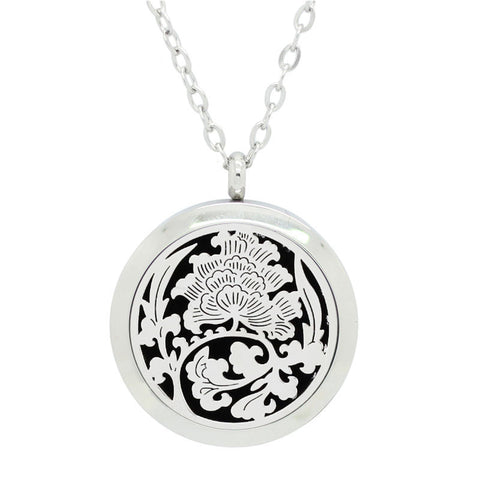 NEW Floral Tree of Life Aromatherapy Essential Oil Diffuser Necklace - Silver 30mm - Christmas Gift