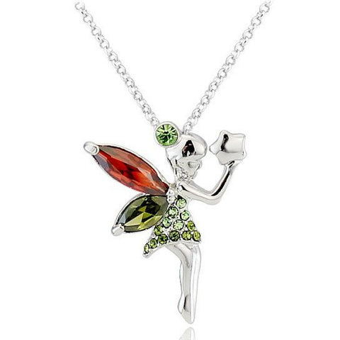 Swarovski Crystal Elements - Orla Fairy Girls Necklace - Platinum Plate - Gift Idea