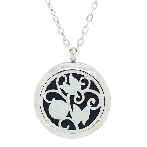 Butterfly Aromatherapy Essential Oil Diffuser Necklace - Silver 25mm - Christmas Gift Idea