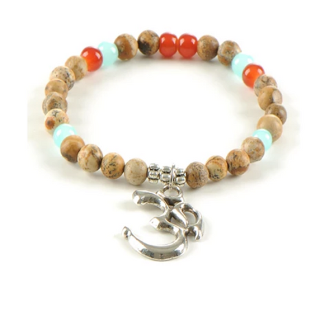 OHM Gemstone Yoga Bracelet - with natural Picture Jasper and Agate Gemstones - Gift Idea