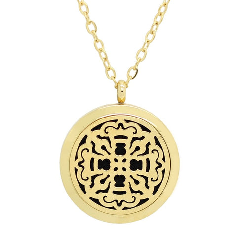 NEW Medieval Cross Design Aromatherapy Essential Oil Diffuser Necklace - 14k Gold Plate 30mm -Free Chain - Christmas Gift Idea