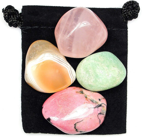 Overcoming Trauma Tumbled Stone Crystal Healing Set with Velvet Pouch - Agate, Amazonite, Rhodonite and Rose Quartz
