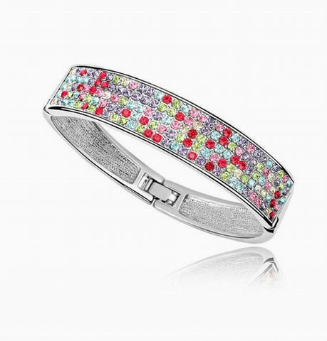 PAVE Crystal Bangle Bracelet - White Gold Plate - made with Swarovski Crystal Elements - Valentine's Day Gift Idea