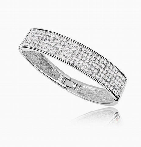 PAVE Crystal Bangle Bracelet - White Gold Plate - made with Swarovski Crystal Elements - Christmas Gift Idea