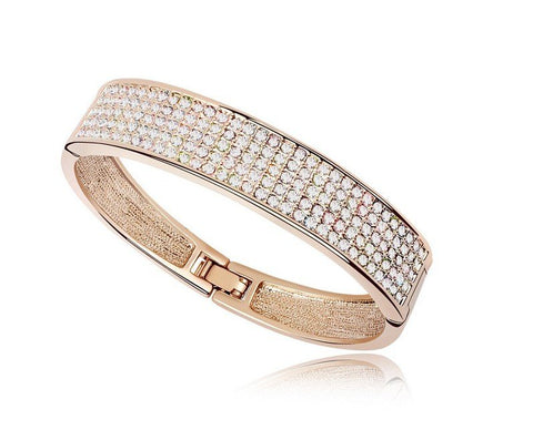 PAVE Crystal Bangle Bracelet - 18k Gold Plate - made with Swarovski Crystal Elements - Gift idea