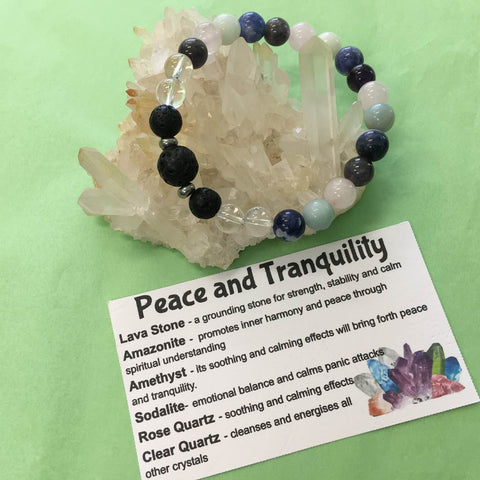 Peace and Tranquillity Healing Crystal Gemstone Lava Bracelet - Handcrafted