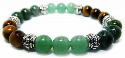 Crystal Gemstone Bracelet - Handcrafted - Natural Green Aventurine, Moss Agate and Tiger Eye 8mm