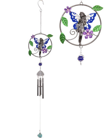 Fairy Ring Pewter Wind Chime - Metal Tubes - Feng Shui - Home Decor - 82cm