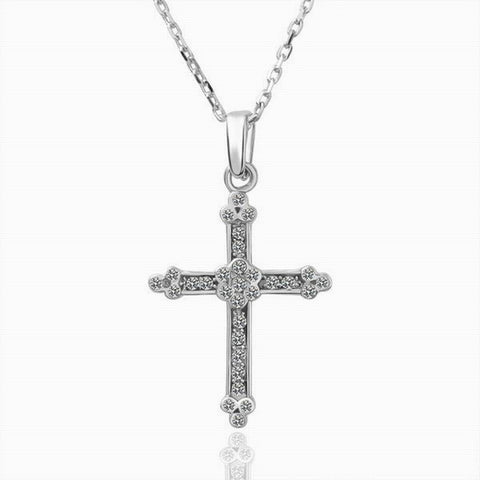 Swarovski Crystal Elements - Cross Necklace - Platinum Plate - Valentine's Day Gift Idea