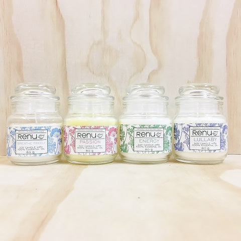 Mini Essential Oil Jar Candle - available in Breathe Freely, Energy, Lullaby and Passion 80g