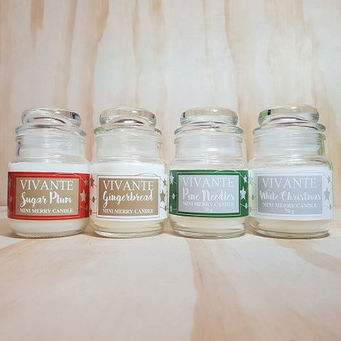 Scents of Christmas Mini Essential Oil Jar Candle 70g - Gingerbread, Pine Needles, Sugarplums and White Christmas - Stocking Filler