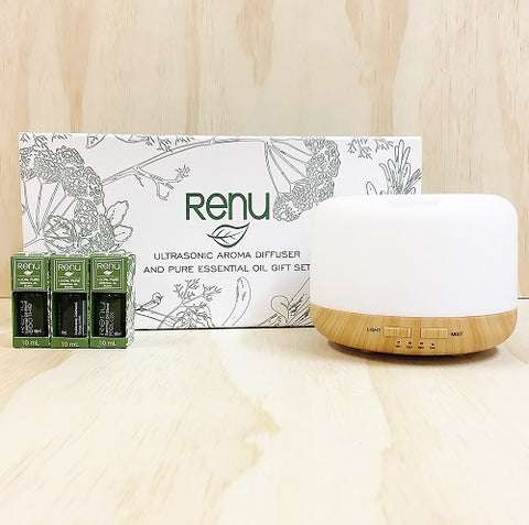 Bamboo Ultrasonic Aroma Mist Diffuser Essential Oil Trio Gift Set - Mother's Day Gift Idea