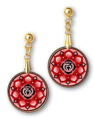 Root Chakra Sanskrit Mandala Earrings - Handcrafted - each piece unique