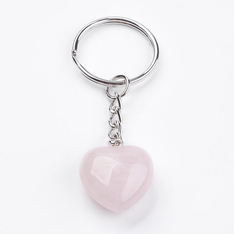 Rose Quartz Puff Heart Key Chain - Love, Friendship and Partnership - Valentine's Day Gift Idea