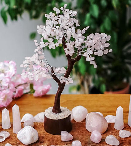 Rose Quartz Crystal Gemstone Tree - Large 26cm - Brown Base - Crystal Healing - the stone of unconditional LOVE