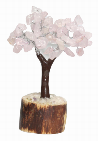 Rose Quartz Gemstone Tree - Small 14cm - Brown Base - Crystal Healing - the stone of unconditional LOVE