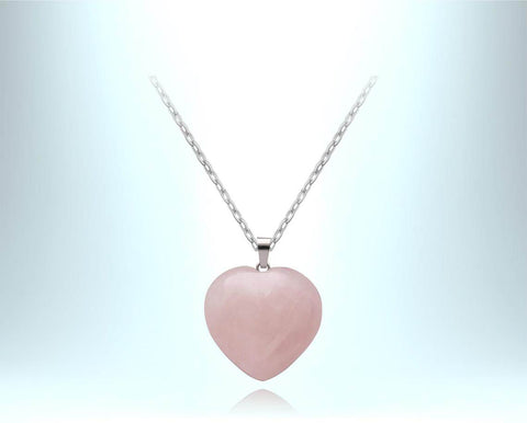 Rose Quartz Heart Necklace - the stone of unconditional LOVE - Mother's Day Gift Idea