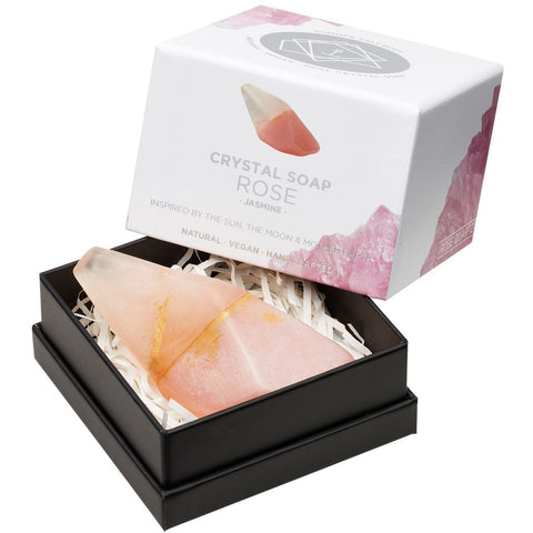 ROSE Quartz Crystal Inspired Soap - Gift Boxed - Jasmine - Valentines Day Gift Idea