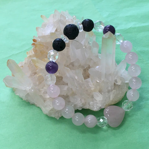 Crystal Gemstone Lava Bracelet LOVE - Rose Quartz Statement - Handcrafted - Gift Idea