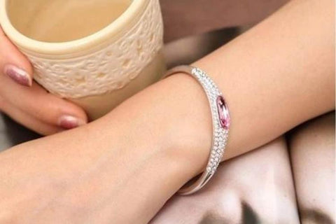 Large Oval and Pave Crystal Bangle - 18k Gold Plate - made with Swarovski Crystal Elements - Gift Idea