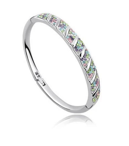 New PAVE Crystal Bangle Bracelet - White Gold Plate - made with Swarovski Crystal Elements - Gift idea
