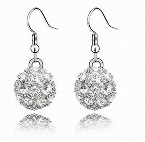 Swarovski Crystal Elements - Shamballa Ball Drop Earrings - 5 Colours - White Gold Plate - Valentine's Day Gift Idea