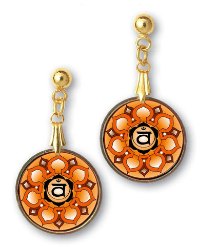 Sacral Chakra Sanskrit Mandala Earrings - Handcrafted - each piece unique