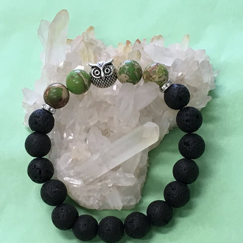 Sea Sediment Jasper, Owl and Lava Healing Aromatherapy Essential Oil Diffuser Bracelet - Protection and Stability - 5 Colours - Gift Idea