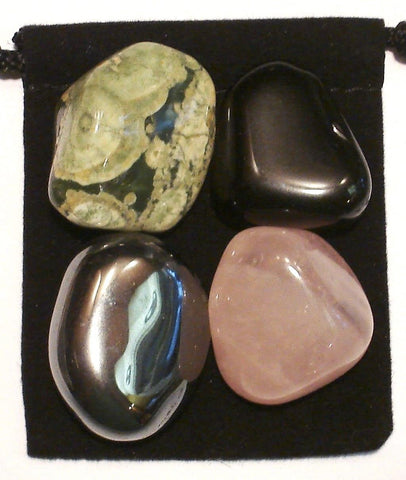 Self Confidence Tumbled Stone Crystal Healing Set with Velvet Pouch - Hematite, Black Onyx, Rose Quartz and Rhyolite