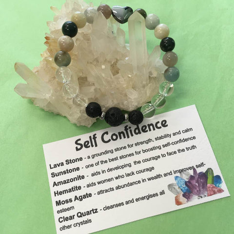 Self Confidence Healing Crystal Gemstone Lava Bracelet - Handcrafted