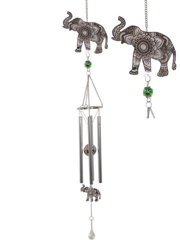 Silver Mandala Elephant Wind Chime - Metal Tubes - Feng Shui - Home Décor - 85cm -Mother's Day Gift Idea