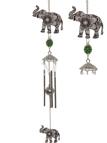 Mandala Elephant Wind Chime Silver - Metal Tubes - Feng Shui - Home Décor - 86cm - Mother's Day Gift Idea