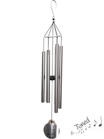 Natures Melody Tuned Wind Chime - Silver Metal Tubes - Feng Shui - Home Decor - 100 cm