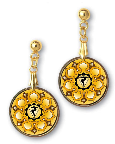 Solar Plexus Chakra Sanskrit Mandala Earrings- Handcrafted - each piece unique
