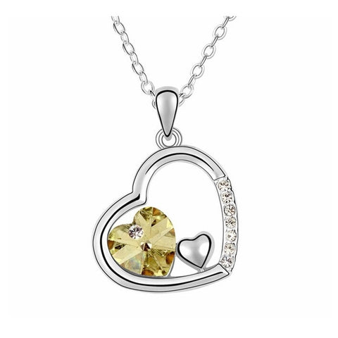 Swarovski Crystal Elements - Double Heart Design Necklace - Platinum Plate - Citrine Yellow - Valentine's Day Gift Idea