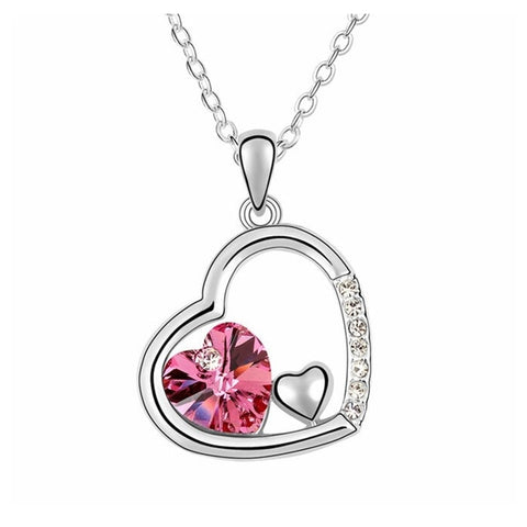Swarovski Crystal Elements - Double Heart Design Necklace - Platinum Plate - Rose Red - Valentine's Day Gift Idea