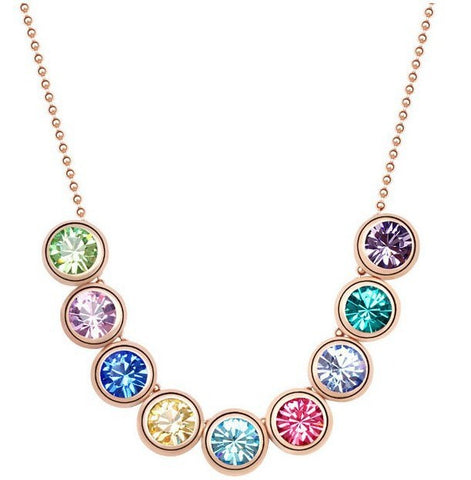 Swarovski Crystal Elements - LUCK Necklace with 9 Swarovski Crystals - 14K Gold Plate - Valentine's Day Gift Idea