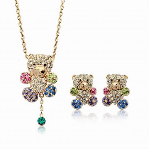 Swarovski Crystal Elements - Rainbow Bear - Teddy Bear Design - Necklace and Earrings Set - Gift Idea