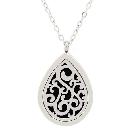 Tear Drop Design Aromatherapy Essential Oil Diffuser Necklace Silver - Free Chain - Christmas Gift Idea
